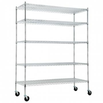 """Silver Kitchen Basket Rolling Cart Wire Storage Shelves with Wheels 11"""" Deep"""